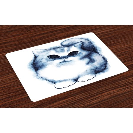 Navy Blue Placemats Set of 4 Cute Kitty Paint with Distressed Color Features Fluffy Cat Best Companion Ever, Washable Fabric Place Mats for Dining Room Kitchen Table Decor,Grey White, by (Best Paint For Kitchen)