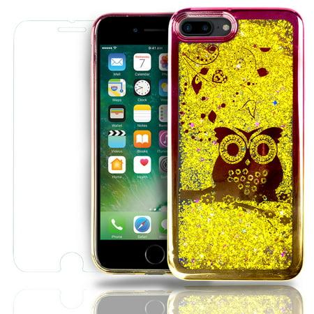 SOJITEK Apple iPhone 7 Plus, iPhone 8 Plus Flowing Gold Stars Glitter Red / Gold Bumper Bezel Owl / Hearts Design Color Change Soft TPU Shock Proof Protective Liquid Case for $<!---->