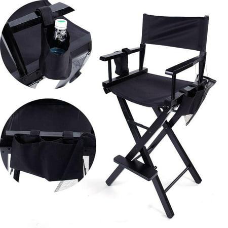 Ktaxon New Directors Chair 30 Inch Canvas Tall Seat Black Wood Folding Hair Stylist