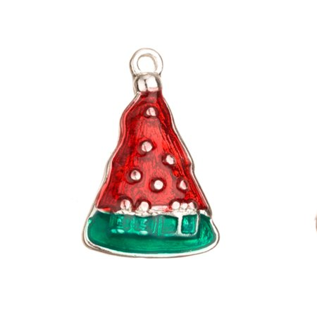 - Enamel Drop, Red And Green Christmas Tree Silver Plated 15.7x3.8mm