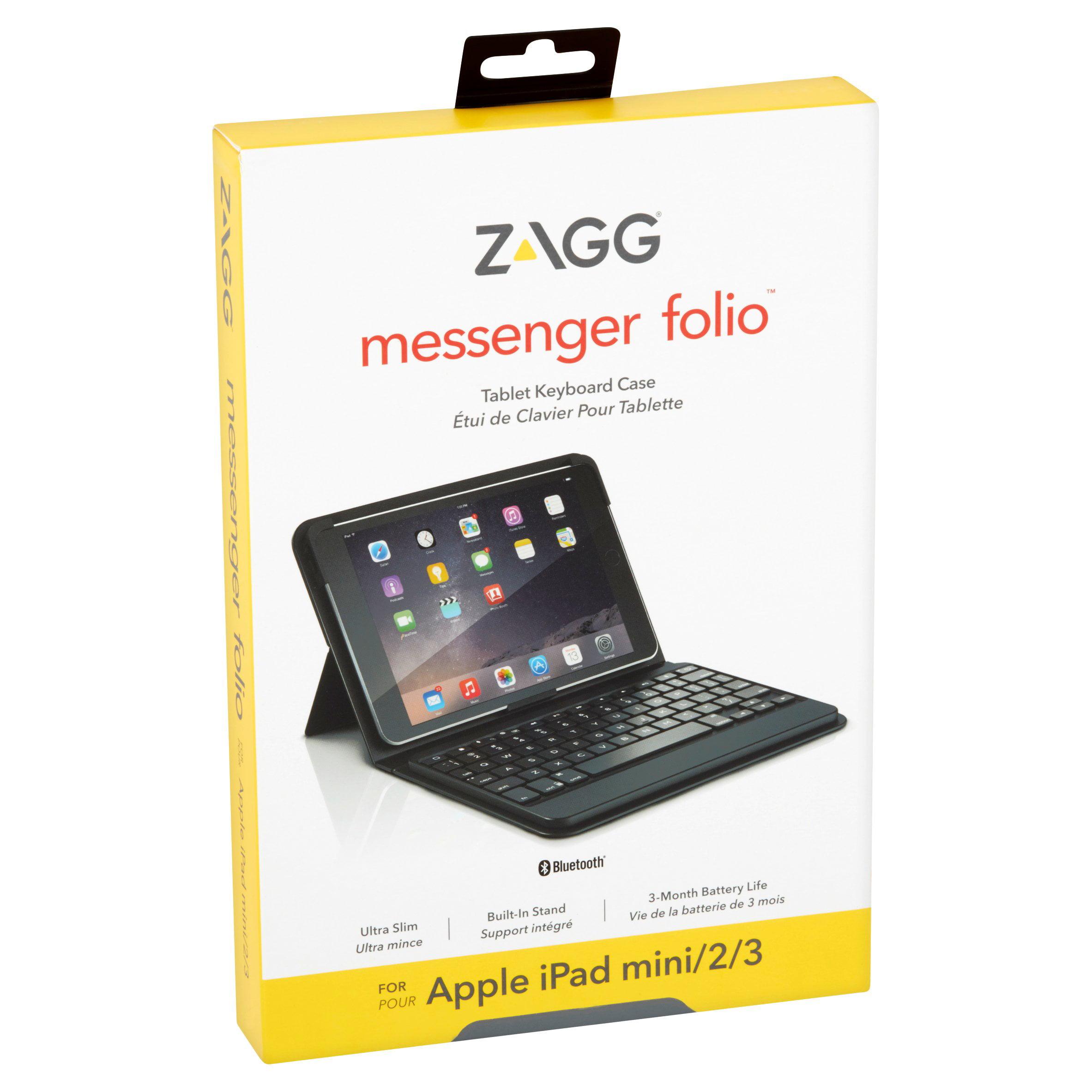 fdc99ecd2fc ZAGG Messenger Folio Case Hinged with Bluetooth Keyboard for Apple iPad  mini / iPad mini Retina / iPad mini 2/ iPad mini 3 - Black - Walmart.com