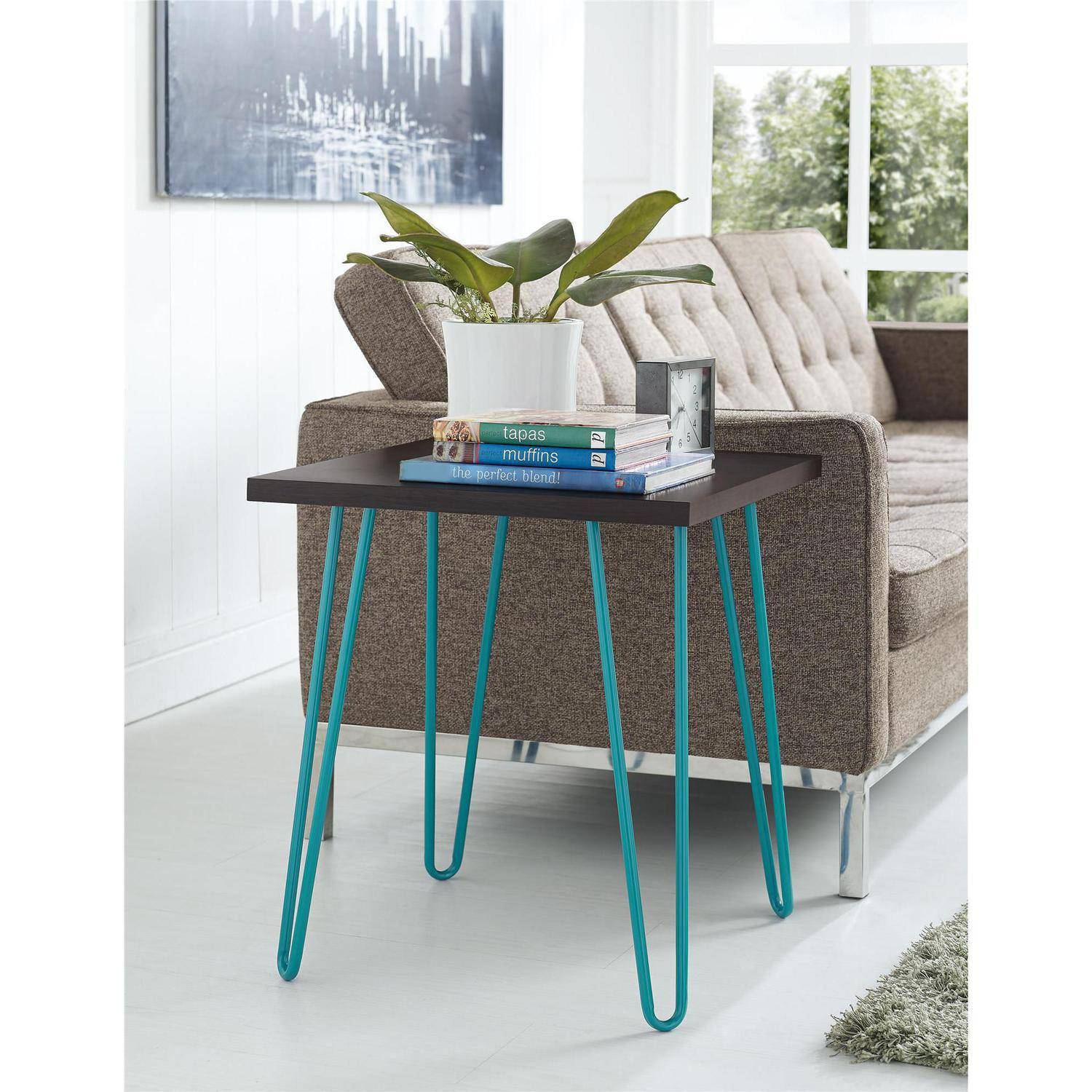 Ameriwood Home Owen Retro End Table Espresso Teal Walmart