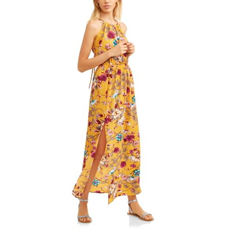 Juniors' Strapless Floral Maxi Dress