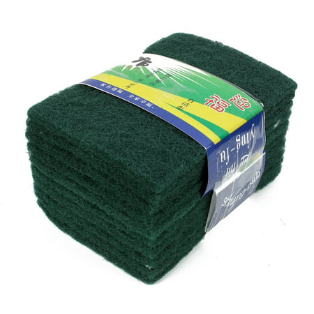 Unique BargainsKitchen Bowl Dish Rectangle Shaped Sponge Scourers Cleaning Pads Green 10 PCS (Green Scrubber)