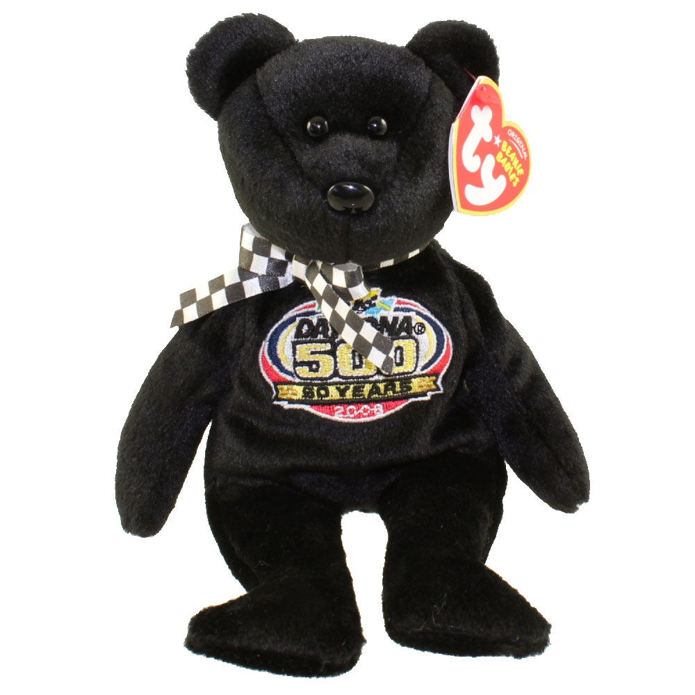 TY Beanie Baby - RACING GOLD the Nascar Bear ( Black Version - Internet Exclusive ) (8.5 inch)
