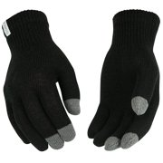 KINCO 21 Touch Screen Knit Gloves, Warm Acrylic/Spandex Blend, One Size, Black