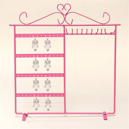 White/Pink/Black Upgrade Jewelry Display Rack Organizer Holder Earrings Metal Stand Necklace Holder Jewelry Tree ()