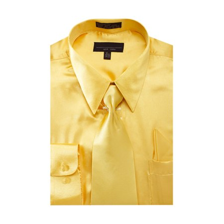 White Egyptian Shirt (Men's Solid Color Satin Dress Shirt Tie and Hanky Set)