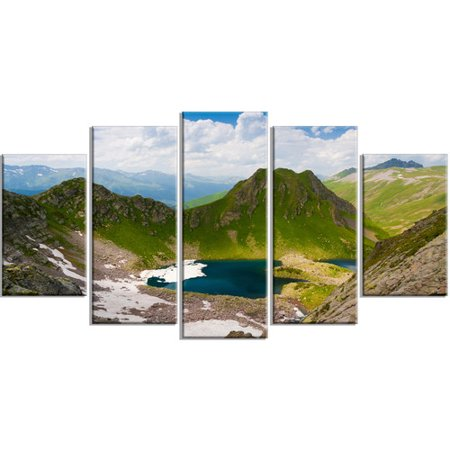 Design Art Mountain Lake View On Bright Day 5 Piece Photographic Print On Wrapped Canvas Set