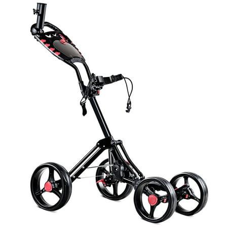 Costway Folding 4 Wheel Golf Pull Push Cart Trolley Club Umbrella Scorecard Drink