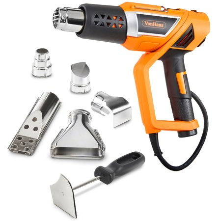 Plc Setting (VonHaus Professional Electric Heat Gun Set with Twistable Nozzle, 3 Temperature Settings and 5 Accessories for Heating BBQ Grills, PVC Shrink, Stripping Paint, Soldering)