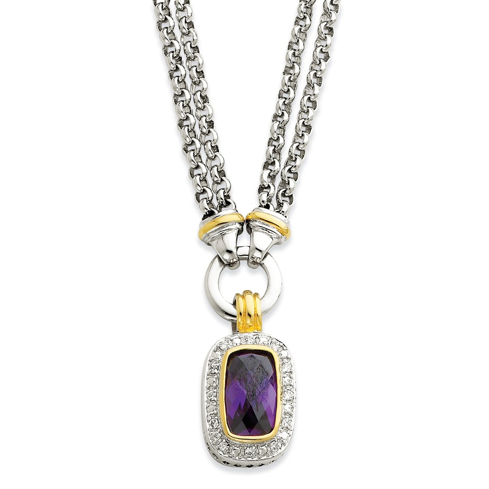 Sterling Silver 16in Gold 16in-Plated CZ Necklace