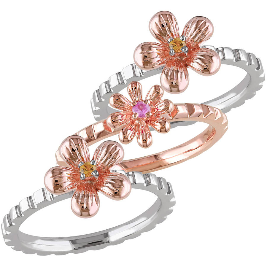 Tangelo 1 8 Carat T.G.W. Pink and Yellow Sapphire White and Pink Rhodium-Plated Sterling Silver Floral Stacking Ring Set by Tangelo
