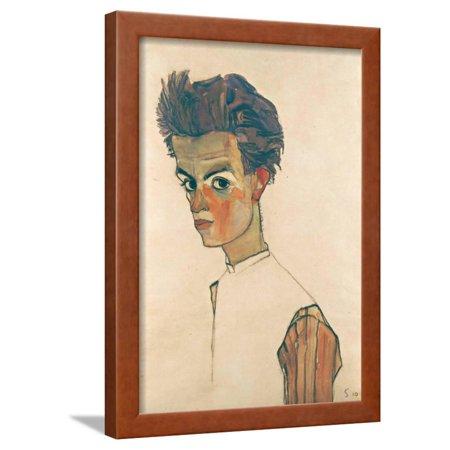 Self-Portrait with Striped Shirt, 1910 Framed Print Wall Art By Egon (Egon Schiele Self Portrait With Striped Shirt)