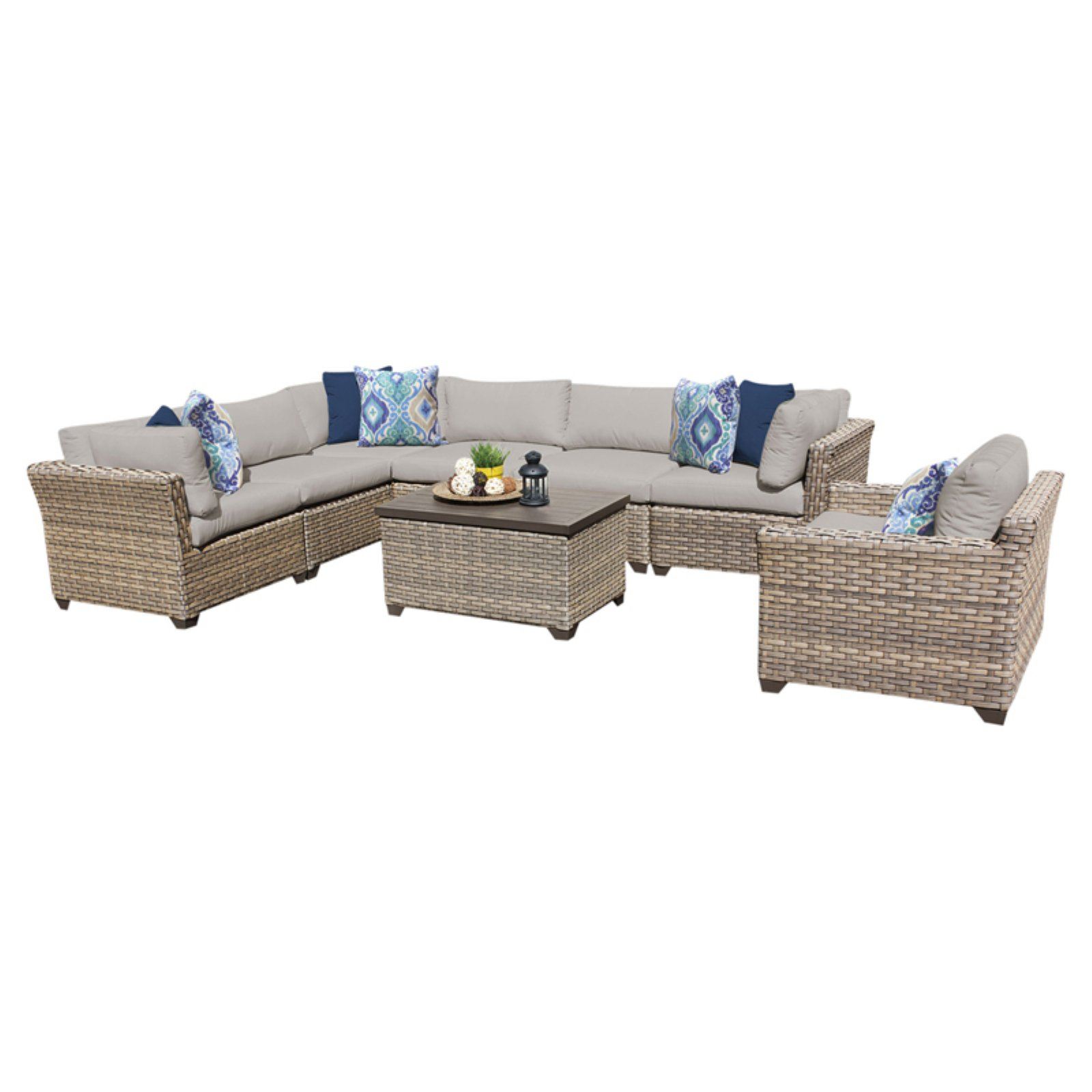 TK Classics Monterey Wicker 8 Piece Patio Conversation Set with 2 Sets of Cushion Covers by TK Classics