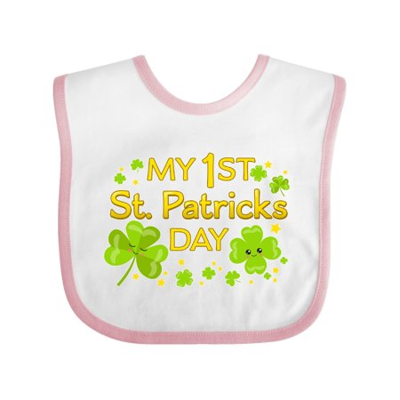 My First St. Patricks Day-cute smiling clovers Baby Bib