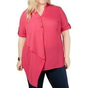 Womens Blouse Plus Aysmmetric Button Front 3X