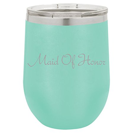 Lik M Aid (12 oz Double Wall Vacuum Insulated Stainless Steel Stemless Wine Tumbler Glass Coffee Travel Mug With Lid Maid Of Honor Bachelorette Wedding)