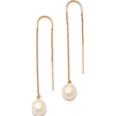 Yellow Gold Dangling Threader Earrings (14k Yellow Gold 7-8mm White Freshwater Cultured Rice Pearl Dangle Threader Earrings )