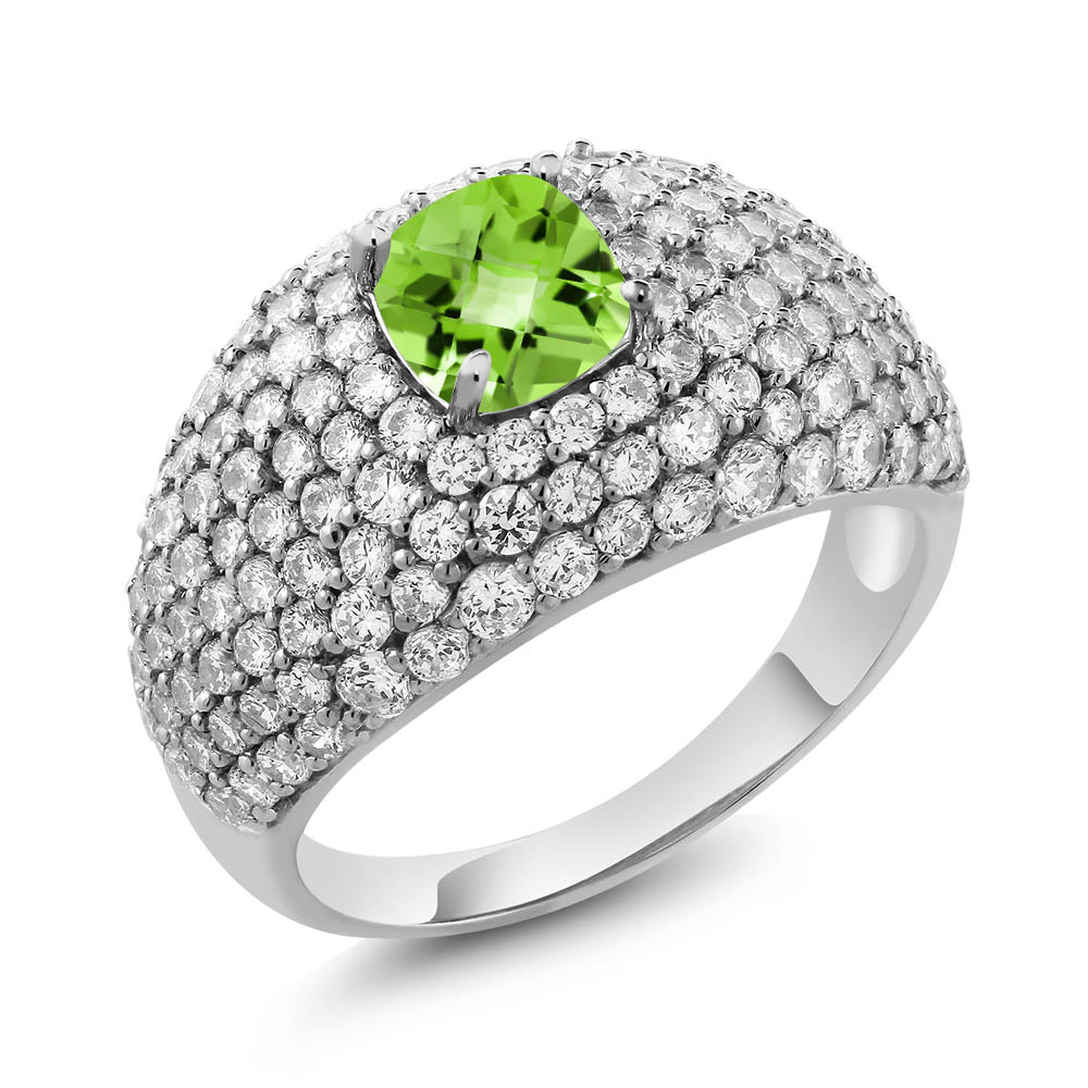 4.36 Ct Cushion Checkerboard Green Peridot 925 Sterling Silver Ring by