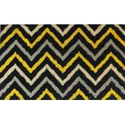 "First Impression Yellow and Black Decorative Chevron Doormat 18"" X 30"""