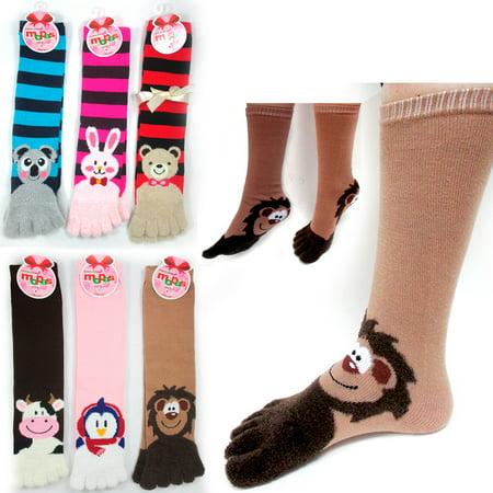 12 Pairs Toe Socks Calf Length Funny Feet Animal Womens Striped Toe Socks - Animal Womens