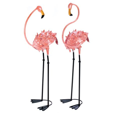 Summerfield Terrace Garden Decor, Rustic Pink Metal Flamingo Yard Art Decorations (1 Pair) for $<!---->