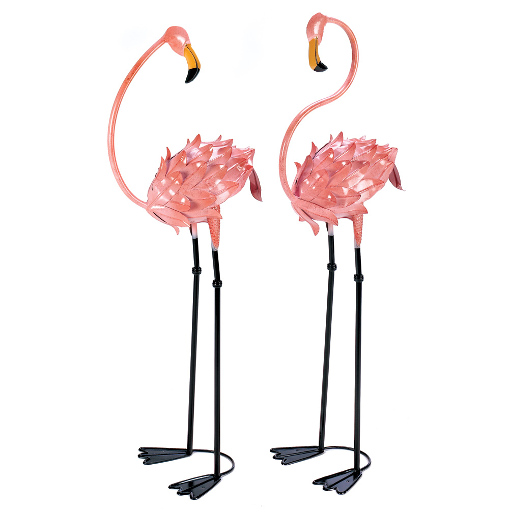 Garden Decor, Rustic Pink Metal Flamingo Yard Art Decorations (1 Pair)