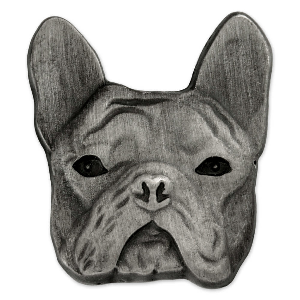 PinMart's Silver 3D French Bulldog Breed Dog Lover Lapel Pin by