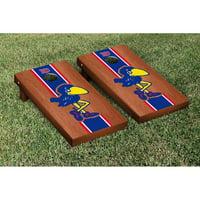 Kansas Jayhawks 2' x 4' Rosewood Striped Cornhole Board Tailgate Toss Set - No Size