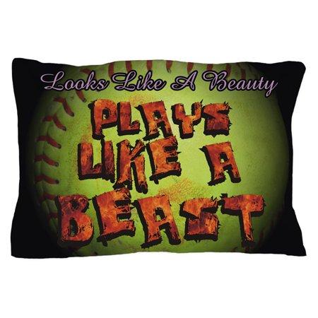 CafePress - Plays Like A Beast Fastpitch Softball - Standard Size Pillow Case, 20
