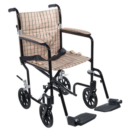 Drive Medical Flyweight Lightweight Folding Transport Wheelchair, 17