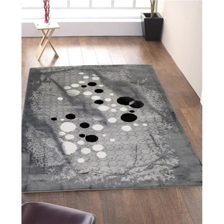 Homedora HD-JC1651-GRY-LGY 5 x 7 ft. Discount World Modern Jersey Collection Stylish Stain Resistant Floor Rug - Paisley - Gray & Light Gray ()