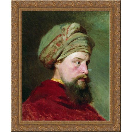 The sitter's head. The second half of the XIX century 20x24 Gold Ornate Wood Framed Canvas Art by Repin, Ilya](Halloween Xix Century)