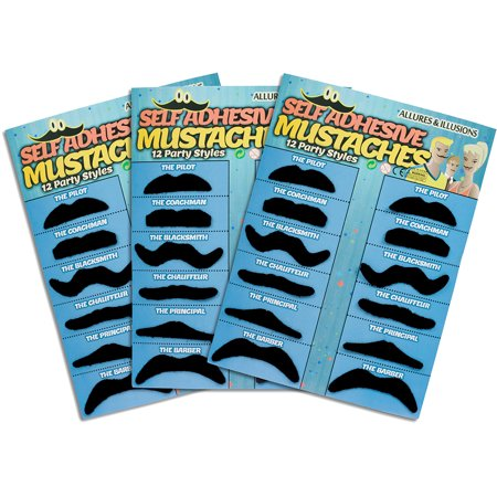 36 Pack Fake Mustache Mustaches Novelty 36pk By Allures & Illusions (Black) - Mustache Fake