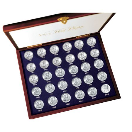 American Coin Treasures 30 Years of US Mint Half Dollars Each Struck of .900 Fine Silver Display Box