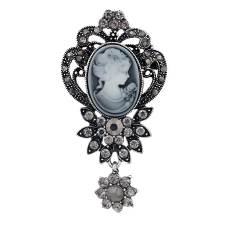 - Antique Silver Tone Flower Style  Dangle Crystal Cameo Brooch Pin Jewelry  BROOCH-05