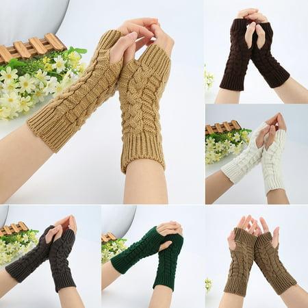 Girl12Queen Women's Fashion Winter Arm Warmer Long Fingerless Mitten Knitted Soft (Hand Knitted Mittens)