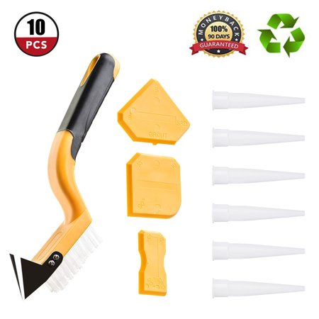 Caulking Tool Kit ,10 Pieces Silicone Sealant Finishing Tool Corner Angle Glass Scraper Caulk Remover and Caulk Nozzles for Bathroom Kitchen Room Floor Cleaning Tool - Corner Tool
