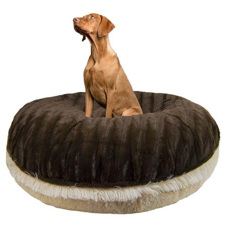 Bessie and Barnie Signature Blondie /Godiva Brown Luxury Shag Extra Plush Faux Fur Bagel Pet/ Dog Bed
