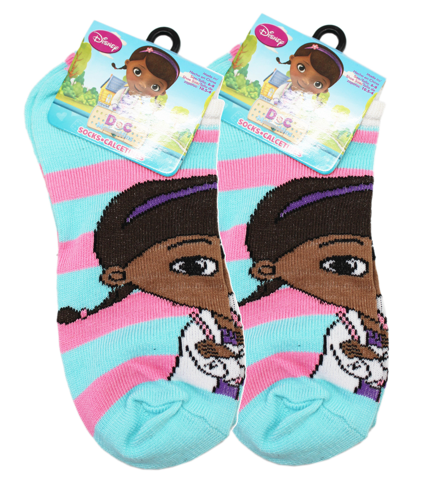Disney's Doc McStuffins Pink and Light Blue Striped Socks (2 Pairs, Size 6-8)