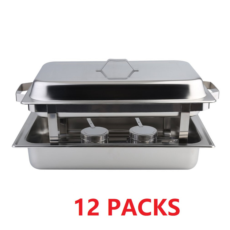 12 Pack Chafing Dish Buffet Set 8 Quart Stainless Steel Buffet Catering Food Warmer Kits,Kitchen Dining Heater,Fit Many Occasions