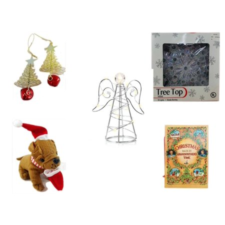 - Christmas Fun Gift Bundle [5 Piece] - Set of 2 Gold Tree w/ Star Jingle Bell Ornaments - 19-Light Snowflake Tree Topper - RadioShack LED Desktop USB-Powered Wire Angel -  Santa Bulldog  5