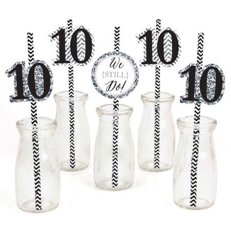 We Still Do - 10th Anniversary - Paper Straw Decor - Anniversary Party Striped Decorative Straws - Set of