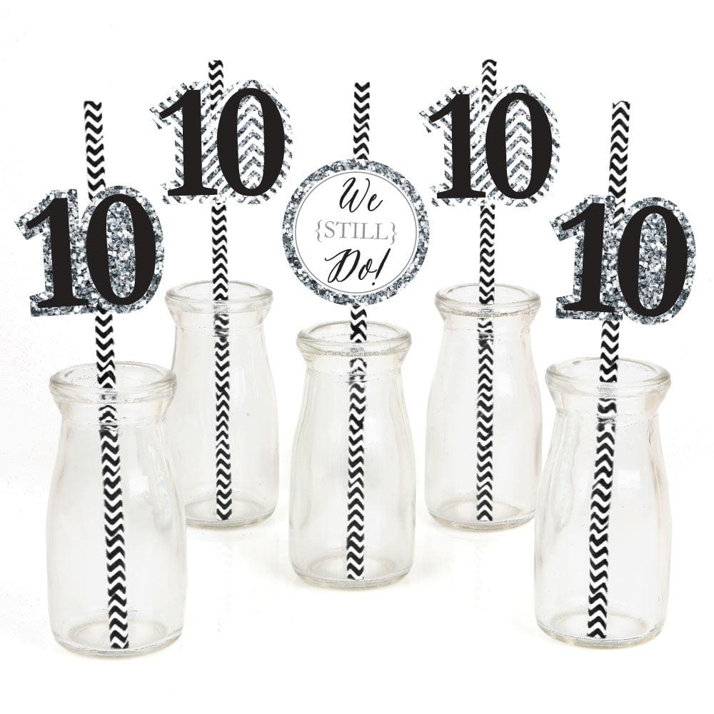 We Still Do - 10th Anniversary - Paper Straw Decor - Anniversary Party Striped Decorative Straws - Set of 24