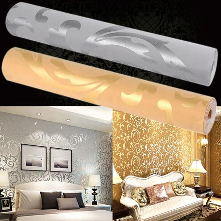 - Print Embossed Non-woven 3D Rolls 10m Wallpaper Bedroom Home Wall Decor Wall Sticker smt