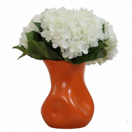 White Hydrangea in Orange - Orange Vases