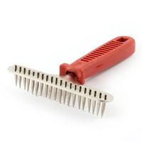 Unique Bargains Pet Dog Cat Nonslip Handle Metal Teeth Grooming Rake Comb Red