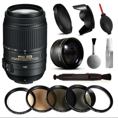 Nikon 55-300mm VR Lens 2197 + Beginner Accessories Bundle includes 5 Piece Filter Set + 2.2x Adapter for Nikon DF D7200 D7100 D7000 D5500 D5300 D5200 D5100 D5000 D3300 D3200 D3100 D3000 D300S D90