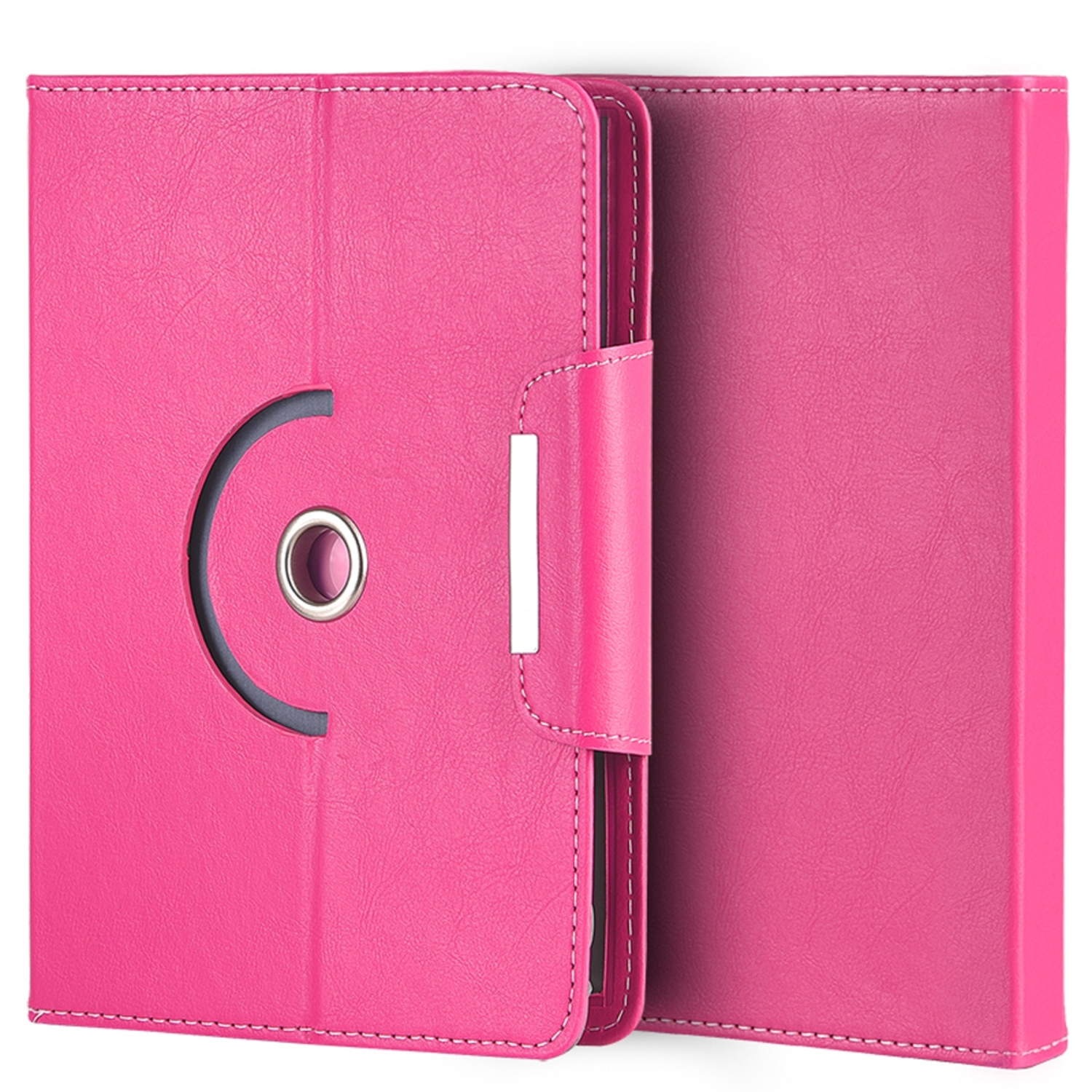 "Tablet Case for 8"" Tablets, by Insten Universal Rotating Multi Angle Standing Case Folio Cover with Card Slots for 8 Inch Tablet - Hot Pink"
